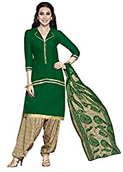 Fashions World Fancy Green Crepe Dress Material