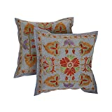 Rajrang Home Furnishing Embroidery Work Cotton Cushion Cover Set Of 2 PCs
