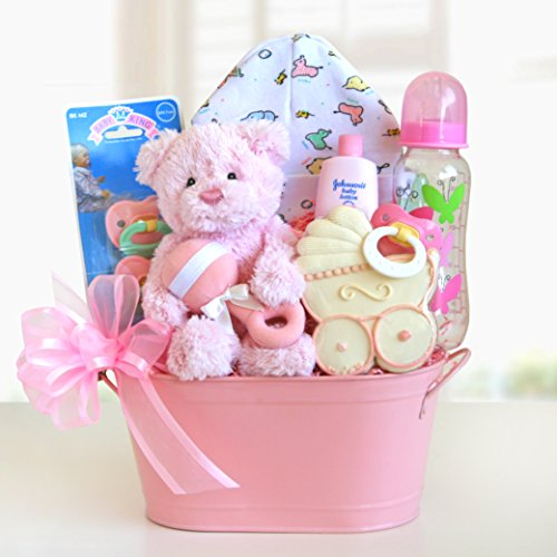 Welcome Baby Girl Gift Basket front-1068146