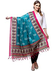 Blue & Pink Printed Art Silk Dupatta