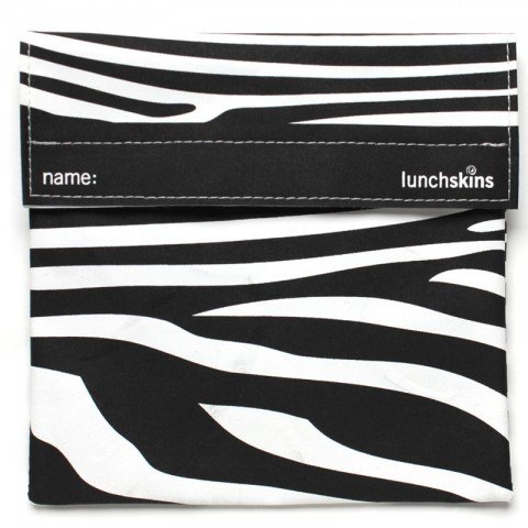 Lunchskins Reusable Sandwich Bag- Black Zebra front-964831