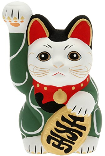 Kotobuki Maneki Neko Lucky Cat Coin Bank with Karakusa Spiral Vine Pattern, Green - 1