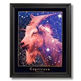 Capricorn Goat Zodiac Stars Astrology Home Decor Wall Picture Black Framed Art Print