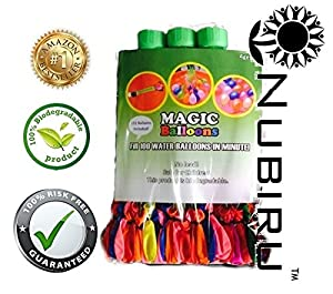 Nubiru® Fast Magic Bunch of Water Balloons Filler -3 Pc Set Self Sealing - Fill 111 Balloons a Minute - Most Fun Family Summer and Pool Games Great for Birthday Parties - Easy to Fill - High Quality