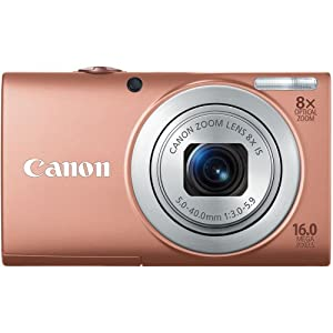 Canon PowerShot A4000IS 16.0 MP Digital Camera with 8x Optical Image Stabilized Zoom 28mm Wide-Angle Lens with 720p HD Video Recording and 3.0-Inch LCD (Pink)