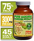 75% HCA Garcinia Cambogia - 180ct - 45 Day Supply - All Natural Weight Loss Supplement