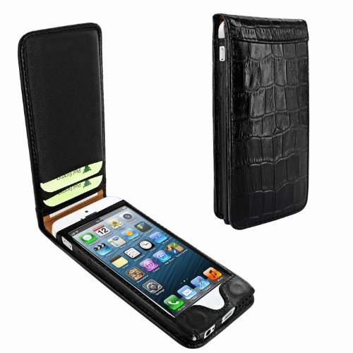 Great Price Apple iPhone 5 / 5S Piel Frama Black Crocodile Magnetic Leather Cover