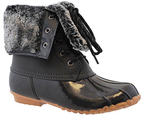 sporto womens delmar leather duck boot black 8m apparel