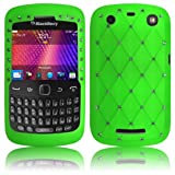 Shop4 Green Diamante Embossed Silicone Case Cover Skin for BlackBerry 9360 Curve Mobile Phone