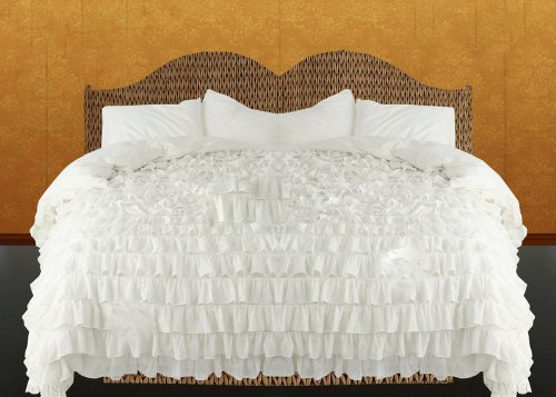 400Tc Solid White Twin Ruffle Duvet Set 100% Egyptian Cotton front-963486
