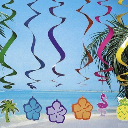 "6 LUAU Swirl DECORATIONS/Hanging SPIRALS/PALM Tree/HIBISCUS/Pineapple/FLAMINGO/TROPICAL PARTY DECOR/30"""
