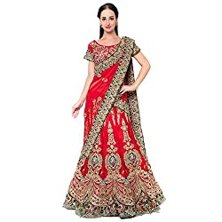 Suchi Fashion Red Net And Satin Embroidered Circular Lehenga Choli