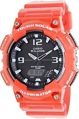 Casio #AQ-S810WC-4AV Men's Red Solar Analog Digital World Time Sports Watch by Casio