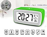 Glovion Smart Touch Sensor Luminous LCD Large Screen Desk Bedside Digital Snooze Alarm Clock with Date and Temperature Display and Personalized Recording Alarm (AC adapter included) (GREEN)