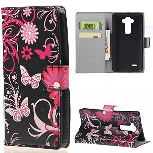 L Flex 2 Case Cover,PU Leather Wallet Stand Case Cover for LG G Flex 2 Flip Folio Cover Protector Shell with Credit ID Card/Money Slots(Butterfly 02) (Lg G Flex Phone Case For Girls compare prices)
