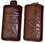 Suncase Leather Pouch for Nokia E5-00 Crocodile Brown