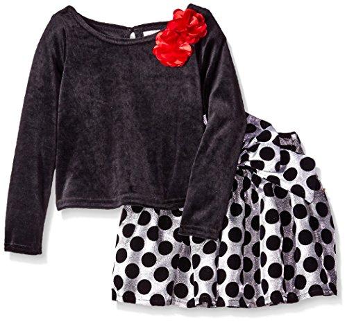 Youngland Little Girls' 2 Piece Skirt Set, Velvet Top and Jacquard Dot Skirt, Black/Grey, 6
