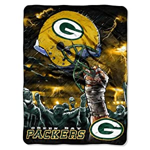 NFL Green Bay Packers 60-Inch-by-80-Inch Plush Rachel Blanket, Sky Helmet Design from The Northwest Company
