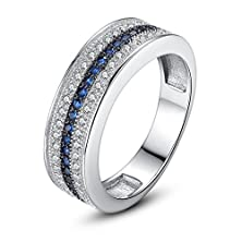 buy Bamoer Lover Blue And Silver 18K White Gold Plated Brass Finger Ring With Black Nickel Unisex Engagement Wedding Aaa Cubic Zirconia Cz Unisex Ring Jewelry Gift (7)
