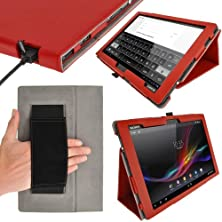 "buy Igadgitz Premium Folio Red Pu Leather Case Cover For Sony Xperia Z 10.1"" Tablet With Auto Sleep Wake + Hand Strap + Multi Angle Viewing Stand + Screen Protector"