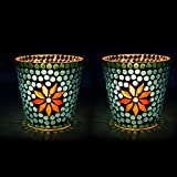 EarthenMetal Handcrafted Blue Polka Mosaic Decorated Tealight Holder (Candle Light Holder) - Set Of 2 - B017FUD05Y