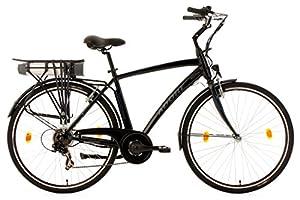 Adore Herren Alu City Pedelec Versailles E-Bike 250 Watt Li-Ion 36V/10,4 Ah 6 Gänge Fahrrad, Schwarz, 28