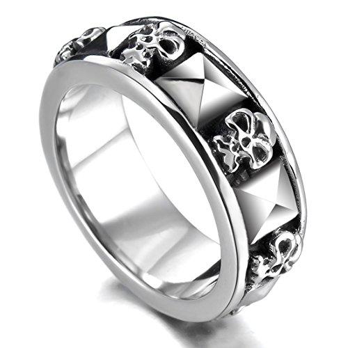 Men's Stainless Steel Ring Band Silver Black Skull Gothic Biker Size13