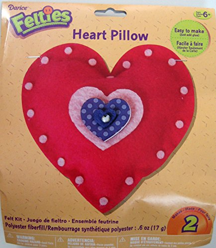 Valentine's Day Felties Pink & Purple Felt Heart Pillow Craft Kit - (Pack of 3)