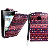 MobileExtraLtd® LG Optimus L3 E400 Aztec Vintage Tribal Style 1 Primium PU Leather Magnetic Flip Case Cover+Stylus