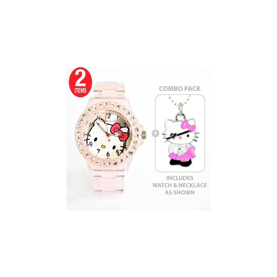 Hello Kitty Sports Quartz Wrist Watch Translucent Pink with Diamond