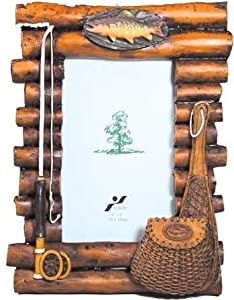 Rustic wood log photo frame with fishing for Fish photo frame