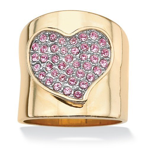 PalmBeach Jewelry Round Pink Crystal 14k Yellow Gold Plated Free Form Heart Band Ring