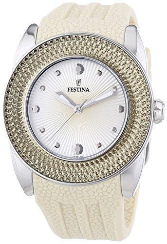 Festina F16591/2 - Reloj analógico de cuarzo para mujer con correa de silicona, color beige