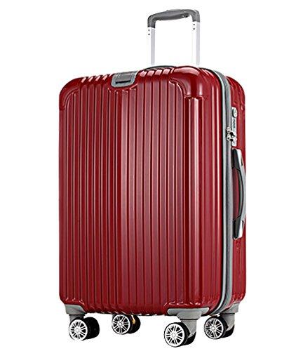 CHENGYANG Bagaglio a Mano da Cabina Spinner Trolley da Lavoro Rigido Valigie da Viaggio con Ruote Valigia Policarbonato Valigetta Trolley TSA Rosso 65cm