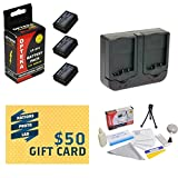 3 Extended Life Replacement Battery Packs For the Canon LP-E10 LPE10 2000MAH Each 6000MAH in Total For The Canon EOS Rebel T3 T5 1100D 1200D Kiss X50 DSLR Digital Camera - 3 Batteries In Total + 1 hour AC DC Dual Battery Rapid Charger + Deluxe Lens Cleaning Kit + LCD Screen Potectors + Mini Tripod + 47stphoto Microfiber Cloth + $50 Photo Print Gift Card!