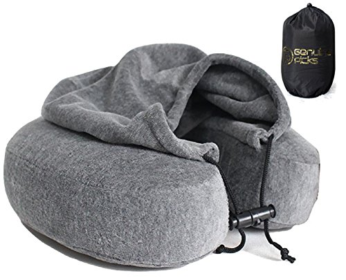 Luxury-Memory-Foam-Neck-Pillow-with-Hoodie-High-Quality-Velvet-Exterior-Water-Proof-Carry-Bag-U-Shaped-Pillow-Perfect-Gift-Idea-Gray