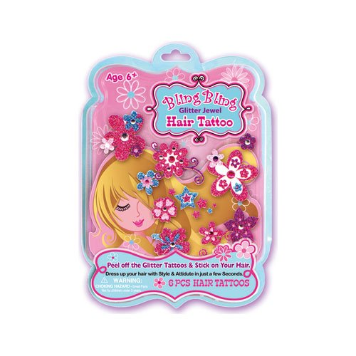 Hot Focus Glitter Jewel Hair Tattoo - 1