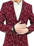 GuDeKeメンズ スーツ 軽量 ジャケット ブレザー スーツ 吸汗速乾 清涼感 オフィス カジュアル 通気性 キレイ目 シンプル メンズ スリム 花柄(レッド7.1.9)
