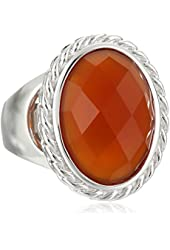 ELLE Jewelry Sterling Silver Red Agate Ring