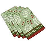 Table Linens Napkins Cotton Green Floral Decor Indian Block Print Screen Set of 4