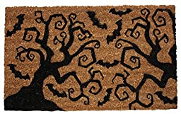 J & M Home Fashions Halloween Bats & Trees Vinyl Back Coco Doormat, 18 by 30\