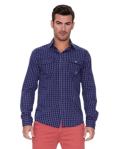 New Caro Camisa Hombre Azul Índigo