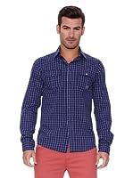 New Caro Camisa Hombre (Azul Índigo)