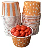 Outside the Box Papers Orange Stripe and Polka Dot Candy Nut Cups Mini Cupcake Birthday Party Halloween Fall Basketball Team Party Supply 48 Ct. Outside the Box Papers
