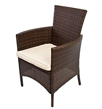 poly rattan garten garnitur esszimmer set romv 4 sessel tisch 150x80x73 cm braun meliert dee998. Black Bedroom Furniture Sets. Home Design Ideas