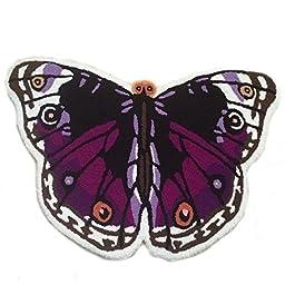 Cute Purple Butterfly Girls Room Rug Washable Non-slip Bathroom Floor Mats Doormat (19.6\'\'x33.5\'\', Purple)