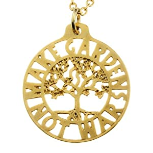 Make Gardens Not War Tree of Life Pendant Necklace