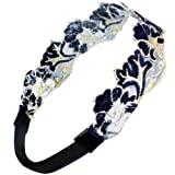 Gold-Tone Thread Lace Embroidered Handmade Elastic Headband - Navy Blue