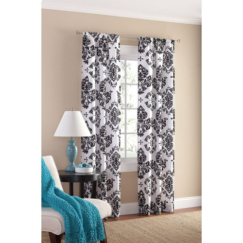 Black and White Damask Curtain Panel Set of 2