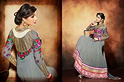 Attractive Gray Semi Stitched Churidar Kameez Material